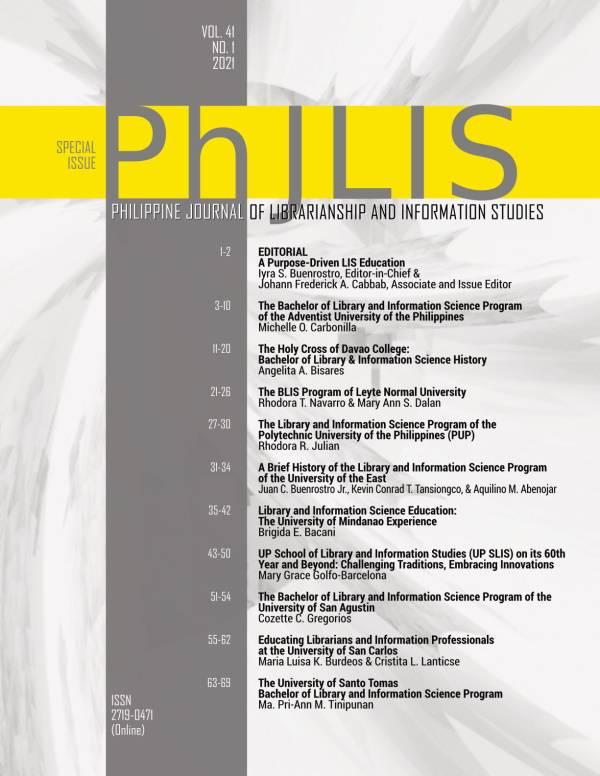 Volume 41 Number 1 issue cover with table of contents