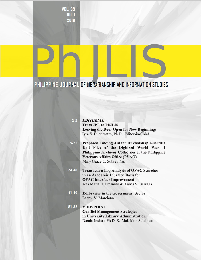 Philippine Journal of Librarianship and Information Studies Cover for Vol 39 Issue 1